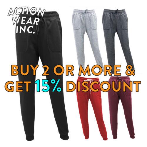 Hi Womens Plain Sweatpants 3 Pocket Casual Joggers Yoga Fleece Pants Gym Fitness