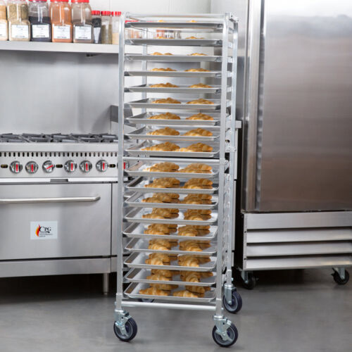 18 Pan Aluminum End Load Bakery Bun / Sheet Pan Rack with Casters
