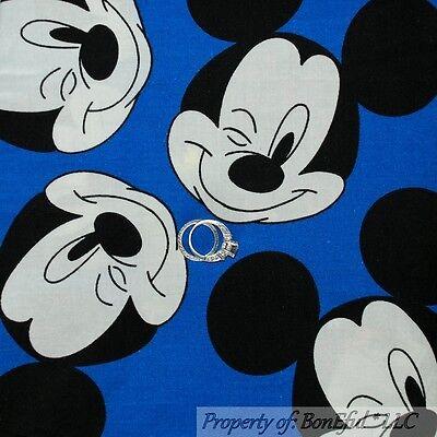 BonEful FABRIC FQ Cotton Quilt VTG White Blue Pink Winnie The Pooh Piglet Disney