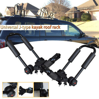 2× Universal Car SUV Roof Rail Luggage Rack Baggage Carrier Cross J-Bar