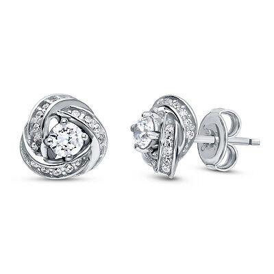 BERRICLE Sterling Silver CZ Woven Love Knot Stud Earrings