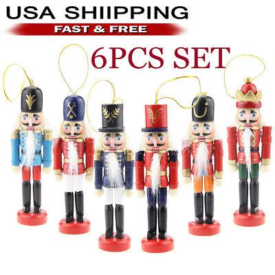 6Pcs Wooden Nutcracker Doll Soldier Christmas Ornaments Xmas Gifts Home Decor US Decorative Christmas Nutcracker