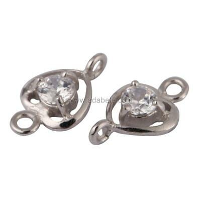 1 Pair x Sparkling Sterling Silver Heart-Shaped 12mm Connector beads #SS36-BB
