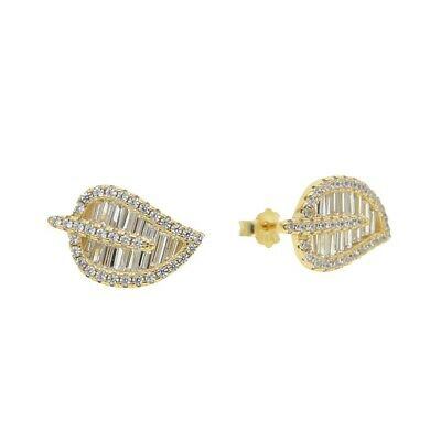Sterling Silver & 14K White Yellow Gold Plated Palm Leaf Earrings Studs Anita Ko