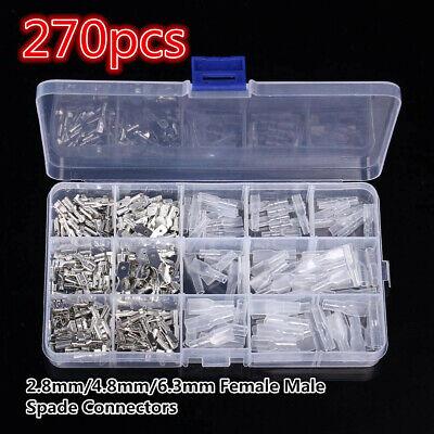 270pcs 2.8mm4.8mm6.3mm Female Male Spade Connectors Wire Crimp Terminals