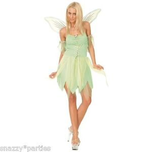 Adult NEVERLAND Pixie Fairy Outfit Tinkerbell Fancy Dress Costume UK Size 6-24