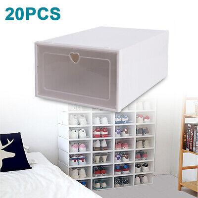 20 cajas para zapatos, caja de plástico con puerta transparente, multiusos