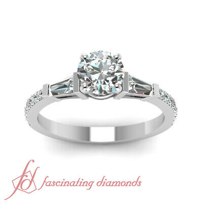 1.25 Carat Round Cut And Baguette Diamond 3 Stone Engagement Rings Pave Set GIA 1