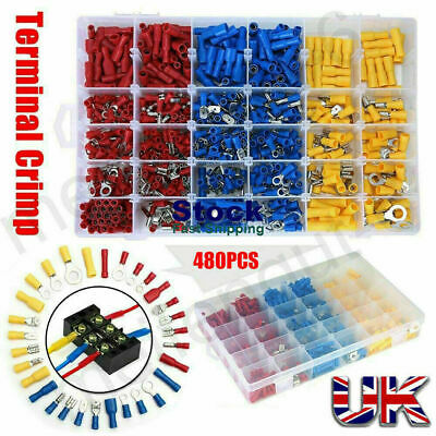 480x Electrical Cable Wire Connectors Assorted Insulated Crimp Terminals Spade M