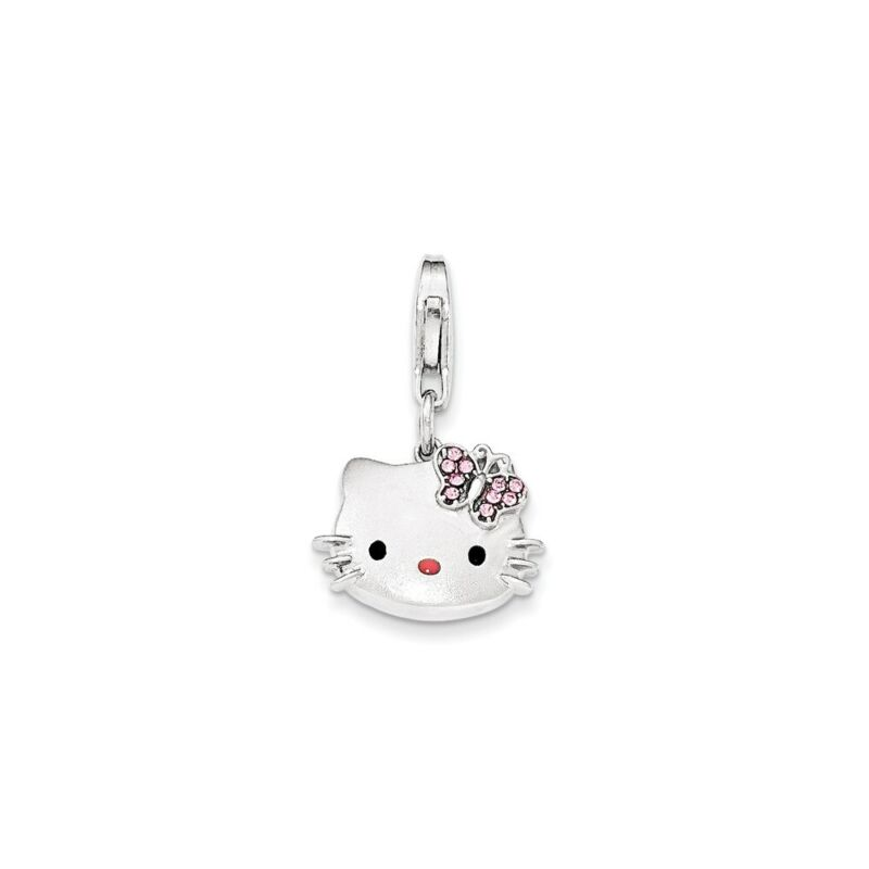 925 Sterling Silver Lobster Clasp Hello Kitty Pink Nose Crystal Bow Pendant