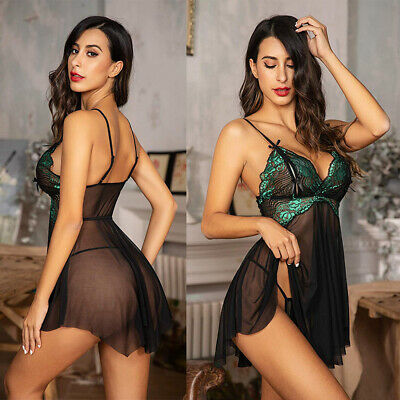 Women Babydoll Lingerie Honeymoon V Neck Chemise Sexy See through Negligee Green