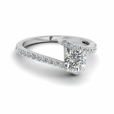 Pave Set Womens Gold Engagement Ring 3/4 Carat Round Cut SI1-E Color Diamond GIA