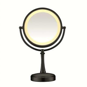 NEW Conair Round Shaped 3-Way Touch Control Double-Sided Lighted Makeup Mirror; 1x/7x magnification; Matte Black Fini...