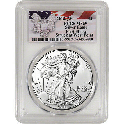 2018  W  American Silver Eagle   Pcgs Ms69   First Strike   Red Flag Label