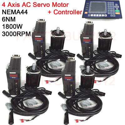 1.8kw 6nm Ac Servo 4axis Motor Driver Nema44 Cnc Controller3m Cable For Milling