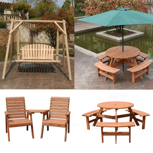 Garden Furniture - Wooden Garden Table Bench Chair Seat Swing Chair Hammock Outdoor Patio Furniture