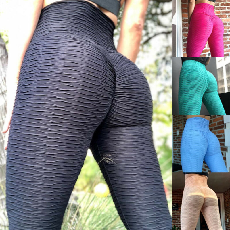 Womens Anti-Cellulite Yoga Pants Leggings Push Up Ruched Sports Gym Trousers O2