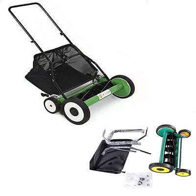 "High Quality Lawn Mower 20"" Classic Hand Push Reel W+Grass Catcher Black + Green"