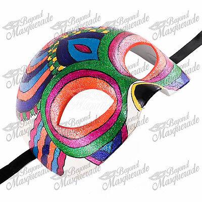 Day of the Dead Skeleton Half Skull Face Masquerade Mask Rainbow Tribal Pattern](Halloween Skull Mask Pattern)