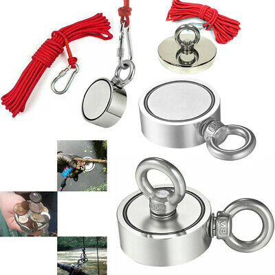 1300lb Round Double Sided Super Strong Neodymium Fishing Magnet Pulling Force