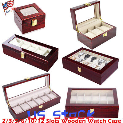 2/3/5/6/10/12 Slots Watch Display Case Wooden Cases Storage Box Large Glass US