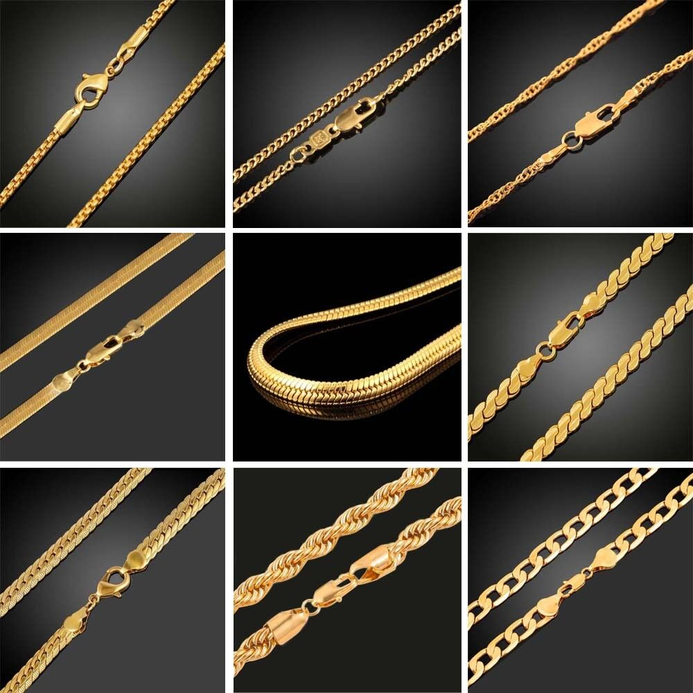 Jewellery - 18K Gold Plated Women Men Cuban Hiphop Link Chain Choker Necklace Jewelry 2-10MM