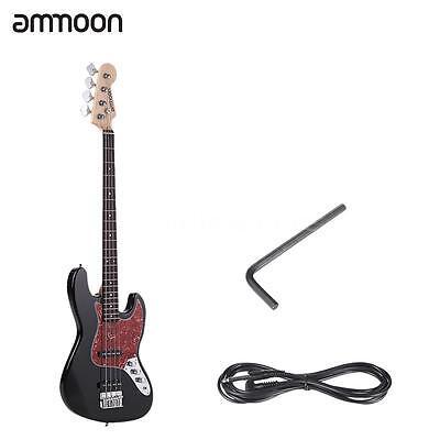 ammoon Electric Jazz Bass Guitar 4 String 21 Frets Basswood Body Black U2U5