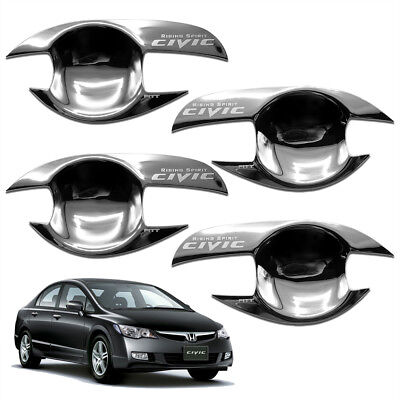 Handle Trim Insert (Door Handle Bowl Insert Cover Chrome Trim 4 Pc Fits Honda Civic Fd 06 07 - 10)