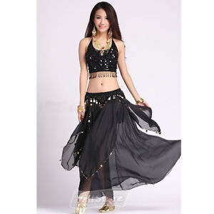 New Belly Dance Costume Handmade Flower Top + Skirt with Coins Black