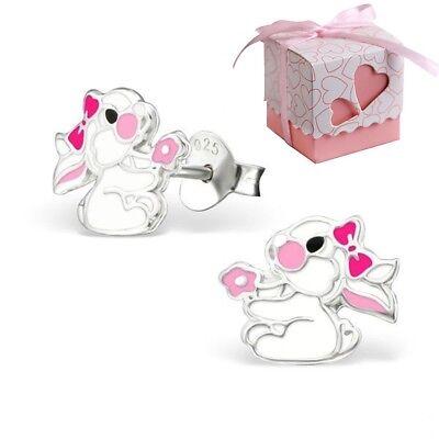 Hase Ohrstecker 925 Echt Silber Ohrringe mit Geschenkverpackung Mädchen Kinder