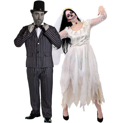 COUPLES WHITE CORPSE BRIDE AND GROOM HALLOWEEN FANCY DRESS COSTUME STRIPED SUIT (Halloween Costumes Bride And Groom Corpse)