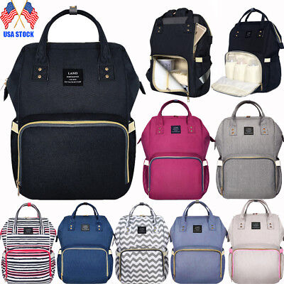 US LAND Mummy Backpack Diaper Bags Large Multifunctional Baby Nappy Changing Bag