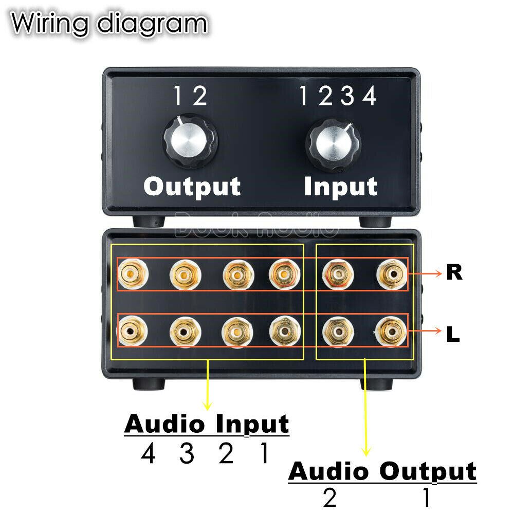 Stereo 4 In 2 Out Rca Audio Signal Splitter Switcher Selector Military Headphone Jack Wiring Diagram Passive Preamp