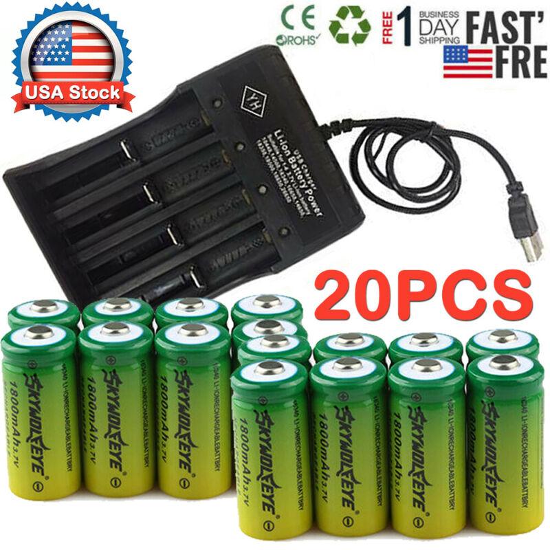 20PCS Rechargeable 16340 Batteries 3.7V CR123A for Netgear A