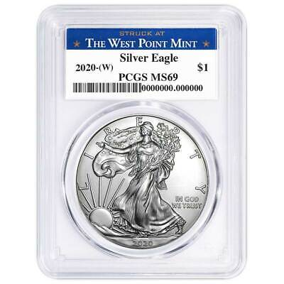 Best  2020 (W) $1 AMERICAN SILVER EAGLE PCGS MS69 WEST POINT LABEL