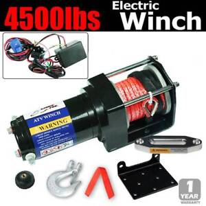 4500lbs electric winch remote 12v truck rope Caravan ATV 4x4 Car