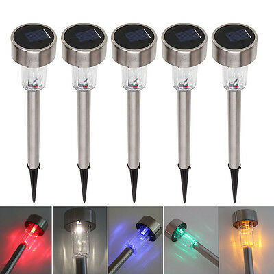 5X New Solar LED Path Light Outdoor Garden Lawn Multi-color Stainless Steel Lamp
