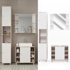 badm bel set fynn wei eiche sonoma bad spiegel unterschrank hochschrank. Black Bedroom Furniture Sets. Home Design Ideas