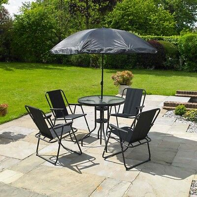 GARDEN PATIO FURNITURE SET 6 PC BLACK OUTDOOR 4 SEAT ROUND DINING TABLE PARASOL