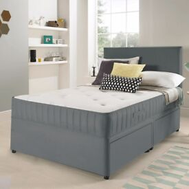 BARGAIN! Single bed with two draws, grey velvet, mattress, headboard - ALL BRAND NEW!!