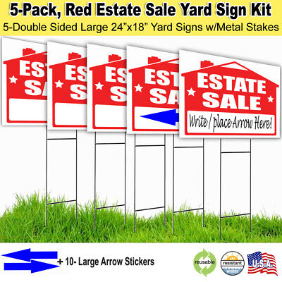 5 Pack -ESTATE SALE Lawn Sign - Lawn Sign