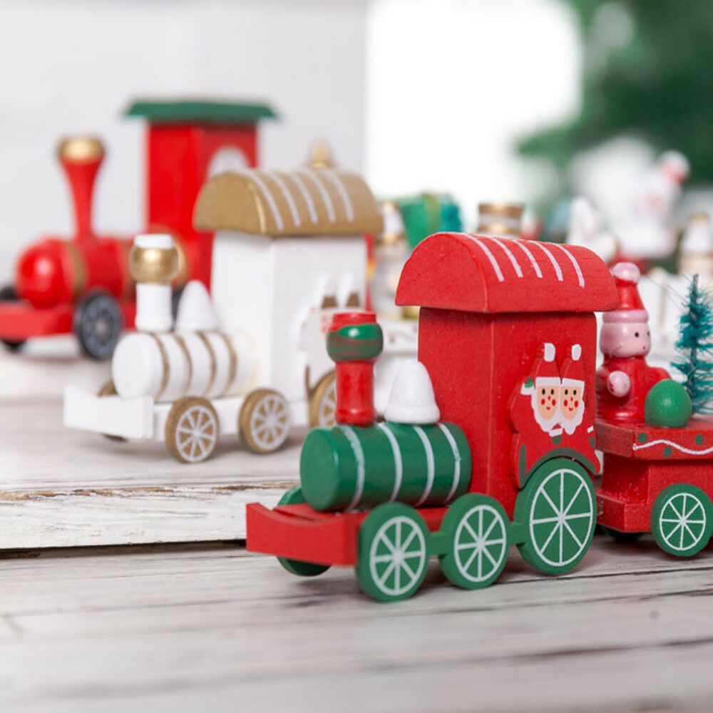 4PCS Christmas Wood Carriage Train Xmas Gift Toy Ornament Fiesta Decoration
