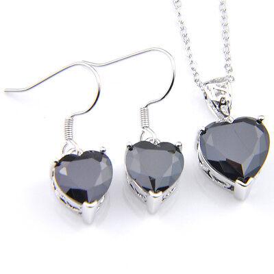 Woman Jewelry Set 2 Pcs 1 Lot  Heart Style Black Onyx Silver Pendant Earrings