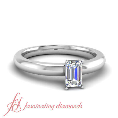 1 Carat Low Dome Comfort Fit Solitaire Engagement Ring Emerald Cut FLAWLESS GIA