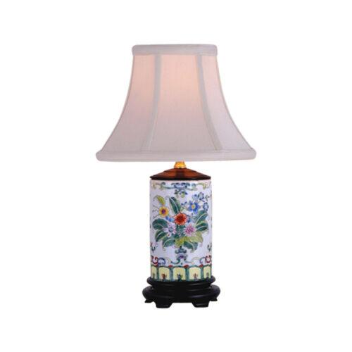 """Floral Motif Cylindrical Porcelain Vase Table Lamp 15"""""""
