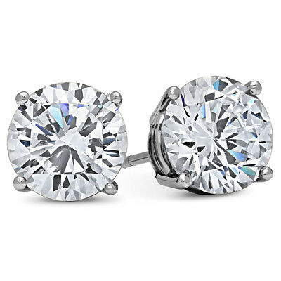 FLAWLESS 4 Carat CZ Earrings AAAAA Quality Brilliant Cut clear WHITE GOLD FILLED