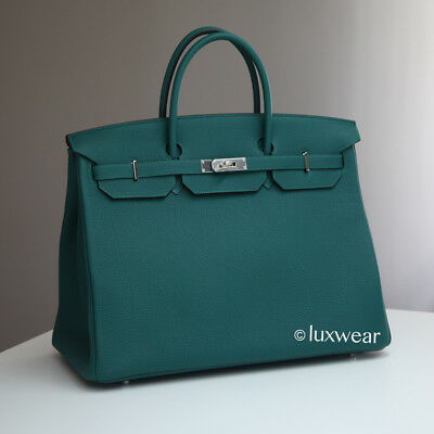 Malachite Green Togo   Palladium 40Cm Hermes Birkin Bag