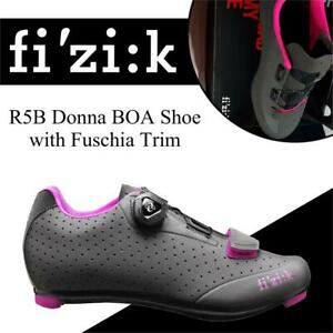 NEW Fizik R5B Donna BOA Shoe with Fuschia Trim, Anthracite, Size 38.5 Condtion: New, Anthracite, Size 38.5