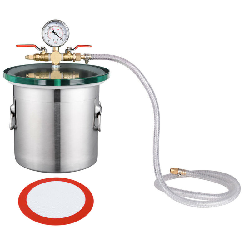 Stainless Steel Vacuum Chamber Glass Lid Set Degassing Silicone Epoxies 2 Gallon