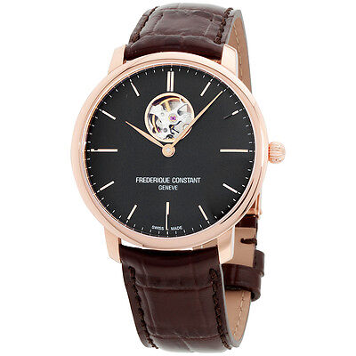 Frederique Constant Slimline Black Dial Leather Strap Men's Watch FC312G4S4